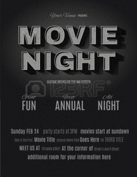 37387751-vintage-movie-or-retro-cinema-text-effect-advertising-a-movie-night-invitation-flyer-template
